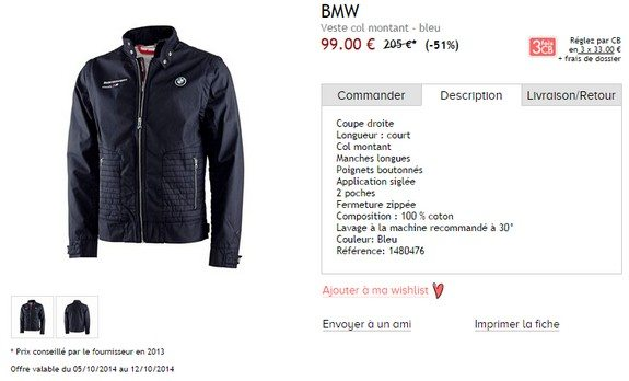 veste bmw col montant