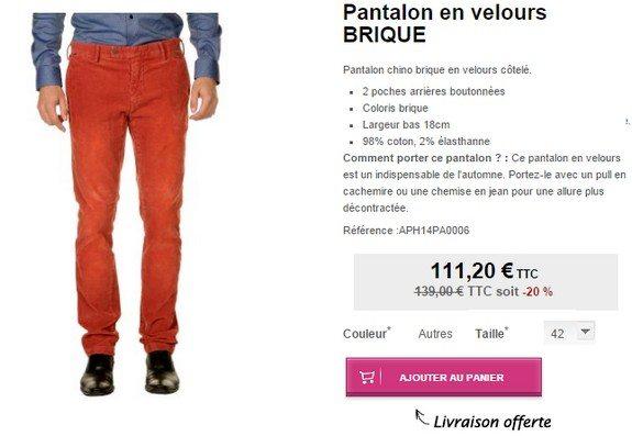 pantalon rouge en velours