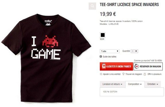 t-shirt space invaders celio