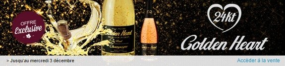vente privee champagne coeur or 24 carats golden heart