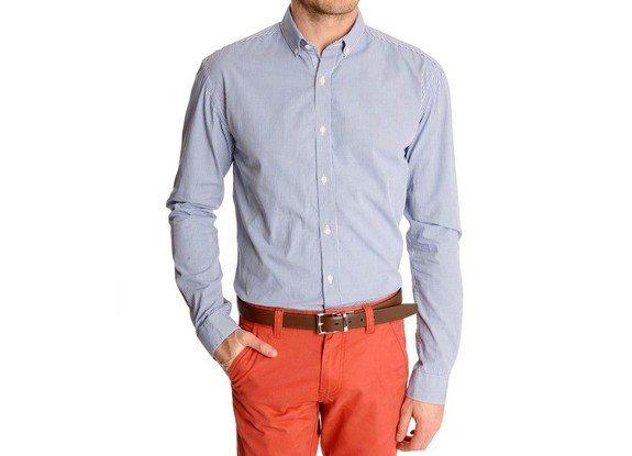 chemise homme bleue carreaux vichy selected