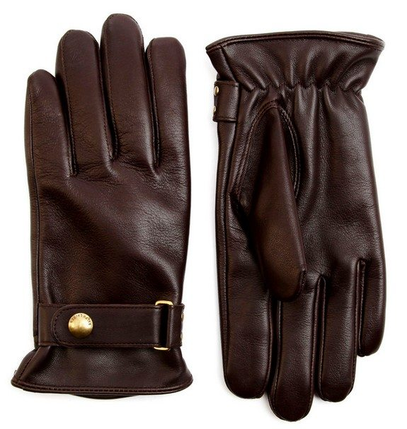 gants cuir marron ralph lauren