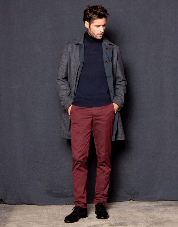 look homme manteau long pantalon chino rouge