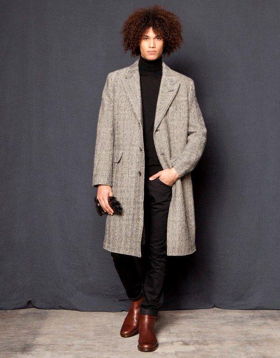 manteau long col tailleur en chevron gris