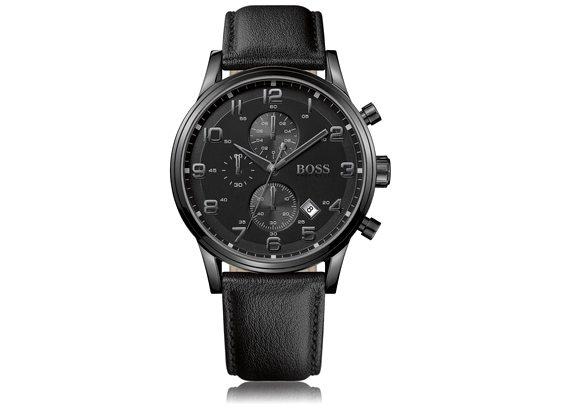 montre noire chronographe hugo boss