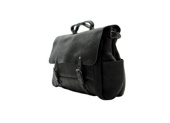 sac plombier noir en cuir bleu de chauffe