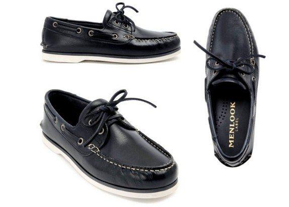 chaussures bateaux bleu marine menlook label