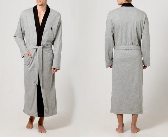 peignoir homme gris noir polo ralph lauren underwear