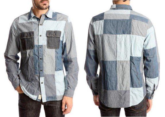 chemise bleue patchwork denim and supply ralph lauren