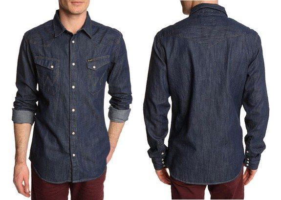 chemise denim bleu brut wrangler