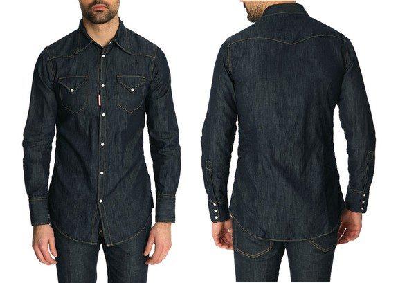 chemise dsquared denim bleu brut