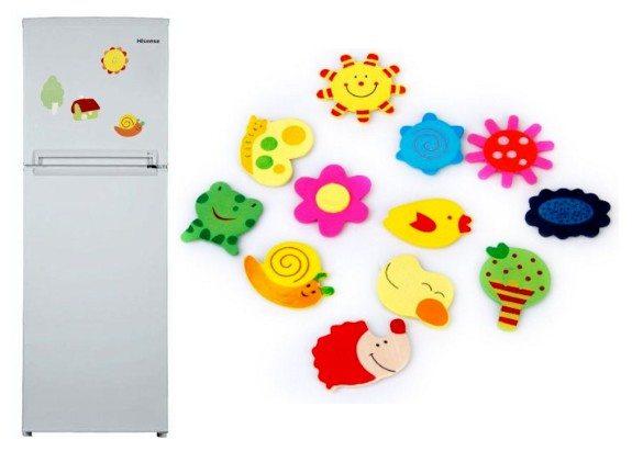 48 aimants magnettes dessin anime en bois pour frigo