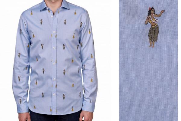 Chemise Naoki vendue par Atelier Privé pendant les ventes privées (motif vahiné)
