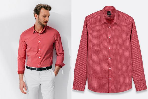 Chemise slim à motifs rouge Brice