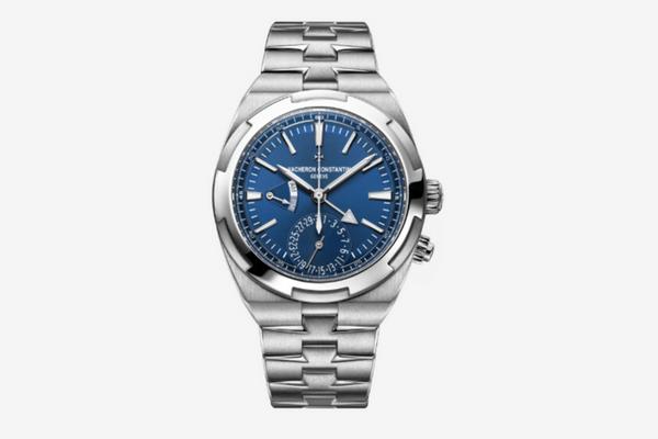Montre Dual Time avec bracelet en acier, cadran bleuté