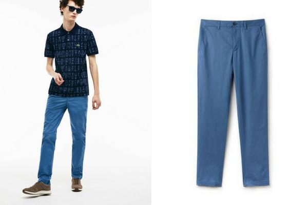 Pantalon chino bleu Lacoste, soldes d'été 2018
