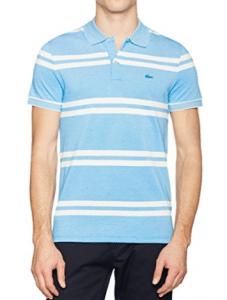 Polo Lacoste bleu à rayures blanches