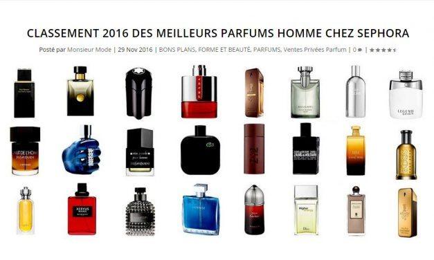 Classement 2016 des meilleurs parfums homme chez Sephora