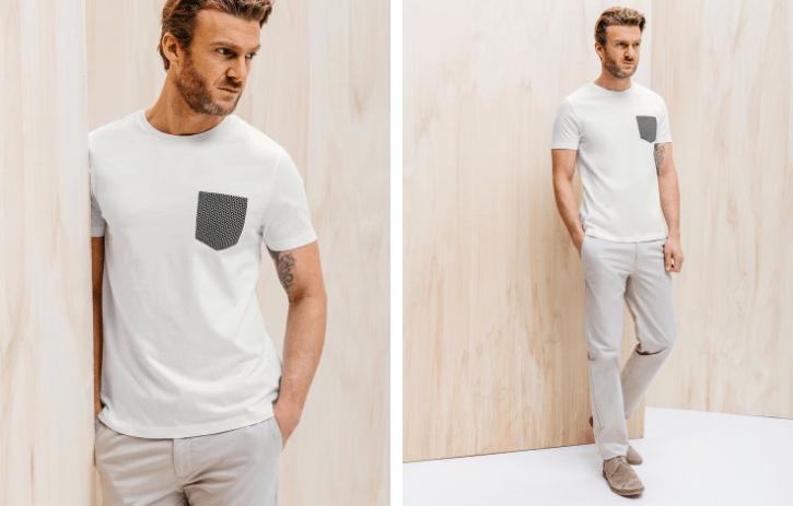 T-shirt blanc poche noire Brice