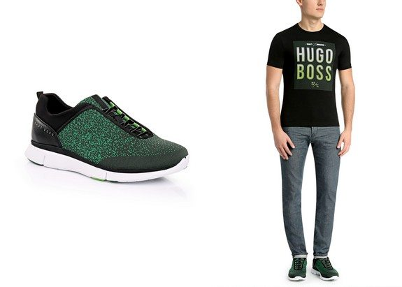 baskets boss green ornees de maille gym knit