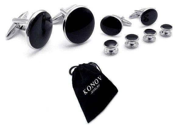 boutons de manchette noirs et goujons de forme classique ronde livrés avec sac cadeau