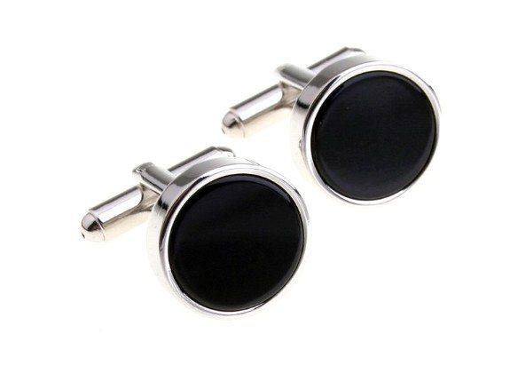 boutons de manchette noirs ronds