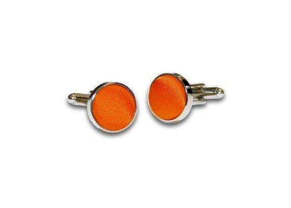 boutons de manchette orange tissu satin polyester