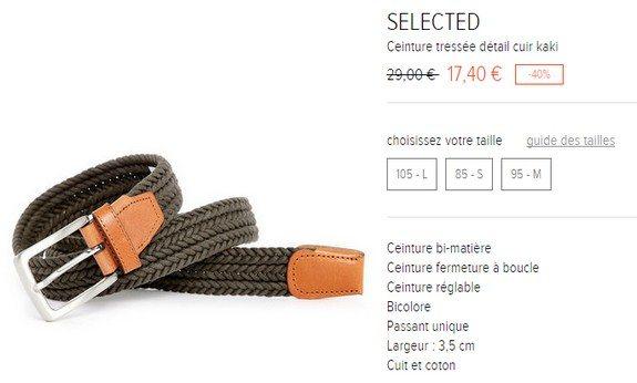 ceinture tressee kaki selected