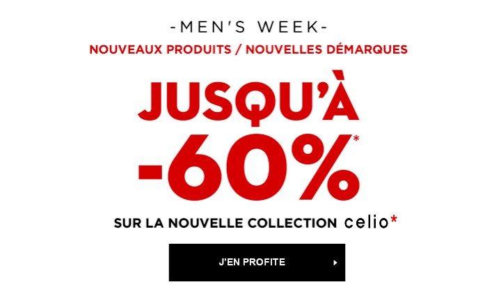 C'est la Men's Week chez Celio ! Habillez vous à -60% !