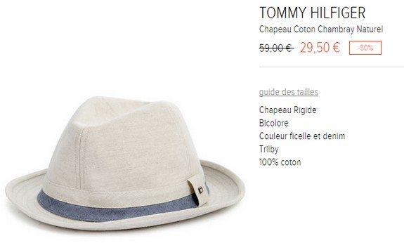 chapeau tommy hilfiger coton chambray