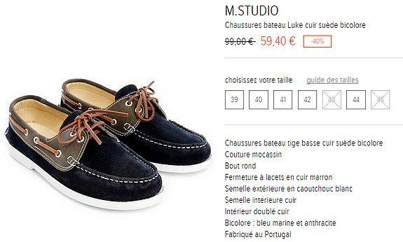 chaussures bateau cuir suede bicolore m studio