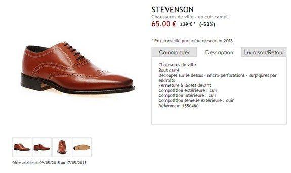 chaussures de ville en cuir marron stevenson