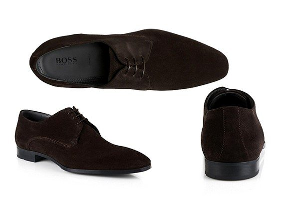 chaussures en daim cuir suede marron fonce boss