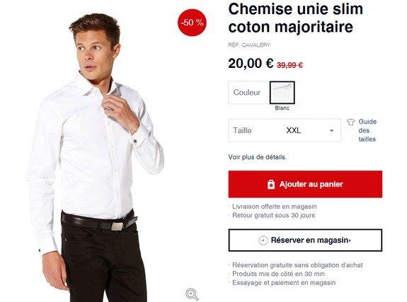 chemise blanche celio en promotion