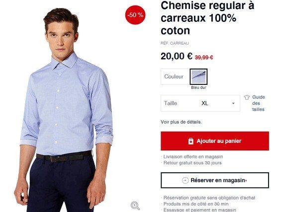 chemise bleue celio en promotion