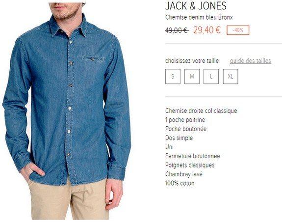 chemise denim jack and jones