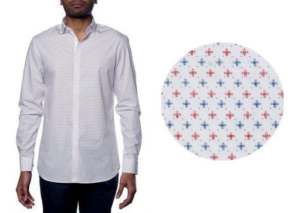chemise homme motif croix bleues et rouges