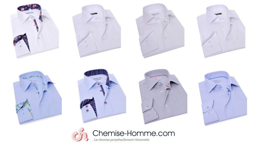 chemise homme unie blanche bleue
