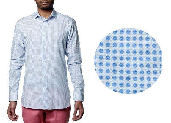 chemise motif geométrique rond bleu