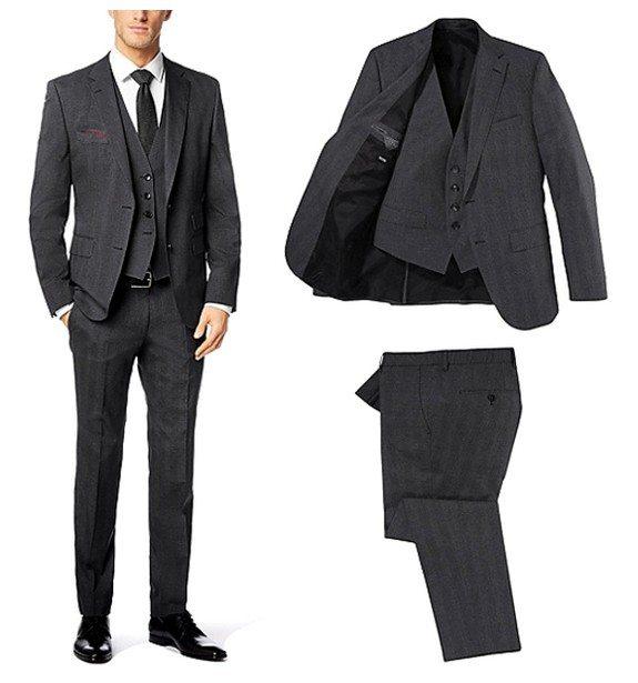 costume hugo boss gris 3 pieces en soldes