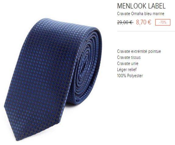 cravate bleu marine menlook label