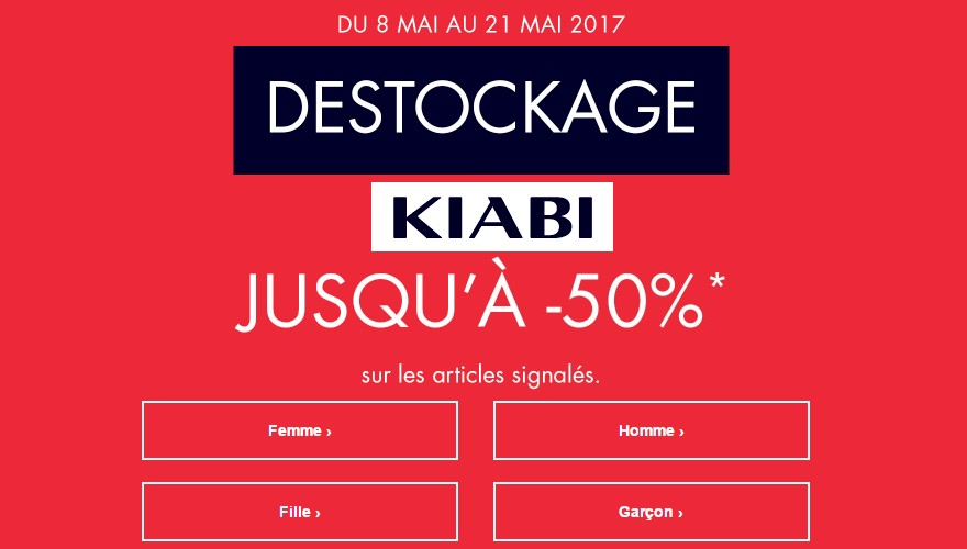 destockage kiabi promotion mode bon plan