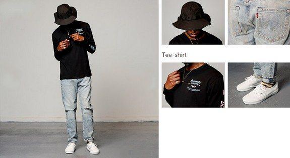 look homme noir streetwear chapeau