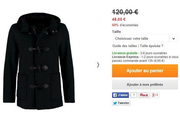 manteau trench coat topman noir
