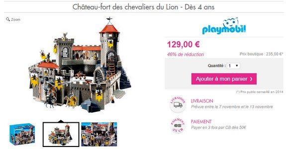 playmobil chateau fort des chevaliers du lion