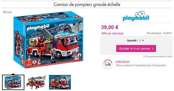 playmobil garcon camion de pompier grande echelle