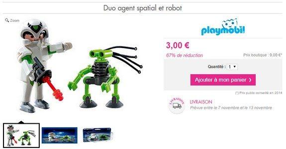 playmobil garcon duo agent spatial et robot