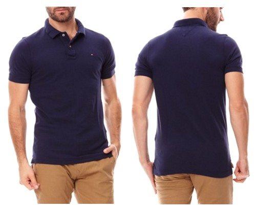 polo manches courtes tommy hilfiger bleu marine