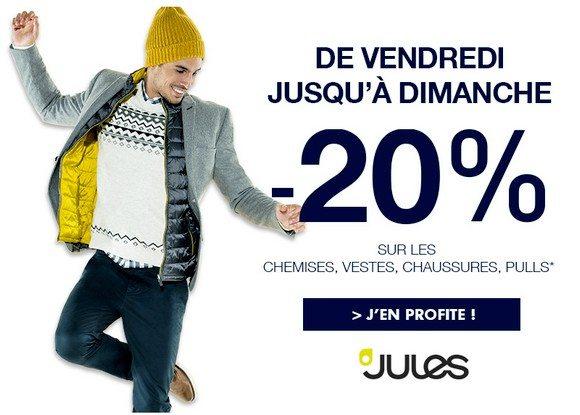 Profitez de -20% chez Jules jusqu'à Dimanche