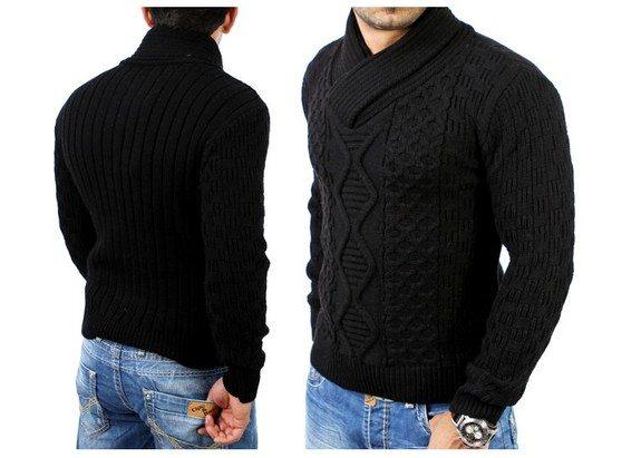 pull en tricot col chale chandail 3500 tazzio